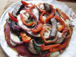 Toronto Nutritionist Janet Zdichavsky Sweet Potato Crust Pizza with Loads of Veggies + Drops of Mozzorella Cheese